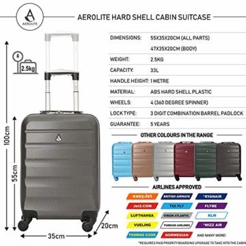 Aerolite Leichtgewicht ABS Hartschale 4 Rollen Handgepäck Trolley Koffer Bordgepäck Kabinentrolley Reisekoffer Gepäck, Genehmigt für Ryanair, easyJet, Lufthansa, Jet2 und viele mehr, Kohlegrau - 2