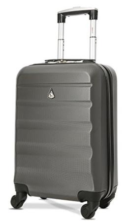 Aerolite Leichtgewicht ABS Hartschale 4 Rollen Handgepäck Trolley Koffer Bordgepäck Kabinentrolley Reisekoffer Gepäck, Genehmigt für Ryanair, easyJet, Lufthansa, Jet2 und viele mehr, Kohlegrau - 1