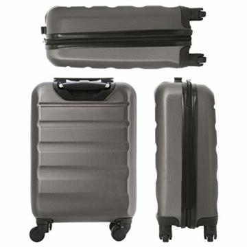 Aerolite Leichtgewicht ABS Hartschale 4 Rollen Handgepäck Trolley Koffer Bordgepäck Kabinentrolley Reisekoffer Gepäck, Genehmigt für Ryanair, easyJet, Lufthansa, Jet2 und viele mehr, Kohlegrau - 4