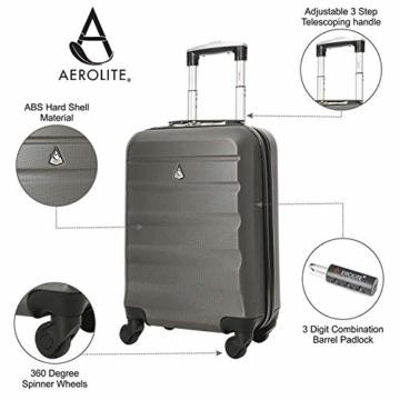 Aerolite Leichtgewicht ABS Hartschale 4 Rollen Handgepäck Trolley Koffer Bordgepäck Kabinentrolley Reisekoffer Gepäck, Genehmigt für Ryanair, easyJet, Lufthansa, Jet2 und viele mehr, Kohlegrau - 6