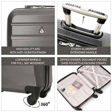 Aerolite Leichtgewicht ABS Hartschale 4 Rollen Handgepäck Trolley Koffer Bordgepäck Kabinentrolley Reisekoffer Gepäck, Genehmigt für Ryanair, easyJet, Lufthansa, Jet2 und viele mehr, Kohlegrau - 7