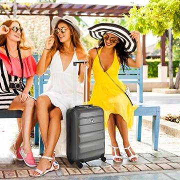 Aerolite Leichtgewicht ABS Hartschale 4 Rollen Handgepäck Trolley Koffer Bordgepäck Kabinentrolley Reisekoffer Gepäck, Genehmigt für Ryanair, easyJet, Lufthansa, Jet2 und viele mehr, Kohlegrau - 8