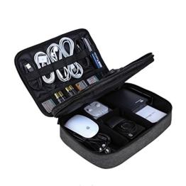 BAGSMART Elektronische Tasche, Doppelte Schichte Elektronik Organizer Reise für Kabel, Ladegerät, Ipad, Ipad Air, Tablet bis zu 10.5 Zoll, Adapter, Maus, SD Karten (Schwarz) - 1