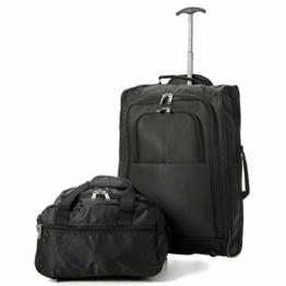 EONO Essentials Ryanair Kabinentrolley Boardtrolley, zugelassen für Ryanair, 35x20x20cm Reisetasche plus Trolley 55x40x20 Handgepäck Reisegepäck Set - Nehmen Sie beide mit! - 1