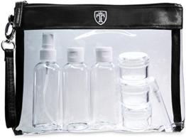 TRAVANDO ® Kulturbeutel durchsichtig mit 7 Behältern (max. 100ml) | 1l Kosmetiktasche transparent Kulturtasche für Flüssigkeiten | Reiseset Handgepäck für Flugzeug Reise Flaschen Handgepäck Beutel - 1