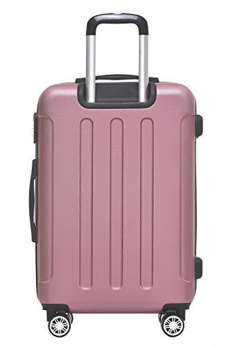 BEIBYE Hartschalen-Koffer Trolley Rollkoffer Reisekoffer Handgepäck 4 Rollen (M-L-XL-Set) (Rosa, L) - 2