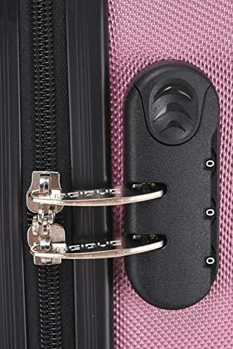 BEIBYE Hartschalen-Koffer Trolley Rollkoffer Reisekoffer Handgepäck 4 Rollen (M-L-XL-Set) (Rosa, L) - 3