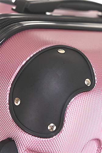 BEIBYE Hartschalen-Koffer Trolley Rollkoffer Reisekoffer Handgepäck 4 Rollen (M-L-XL-Set) (Rosa, L) - 5