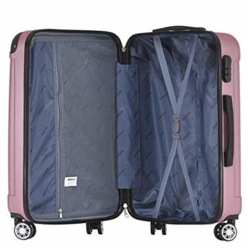 BEIBYE Hartschalen-Koffer Trolley Rollkoffer Reisekoffer Handgepäck 4 Rollen (M-L-XL-Set) (Rosa, L) - 7