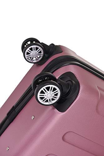 BEIBYE Hartschalen-Koffer Trolley Rollkoffer Reisekoffer Handgepäck 4 Rollen (M-L-XL-Set) (Rosa, L) - 8