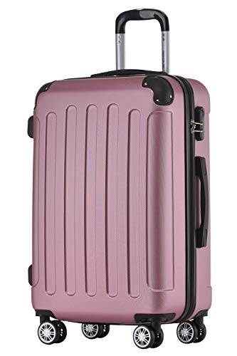 BEIBYE Hartschalen-Koffer Trolley Rollkoffer Reisekoffer Handgepäck 4 Rollen (M-L-XL-Set) (Rosa, L) - 1