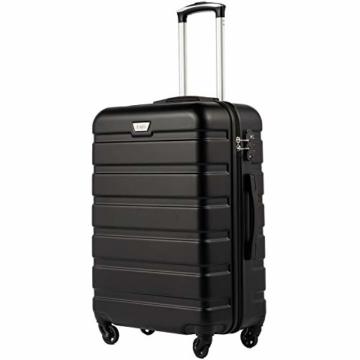 COOLIFE Hartschalen-Koffer Trolley Rollkoffer Reisekoffer mit TSA-Schloss und 4 Rollen(Schwarz, Handgepäck) - 1