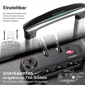 COOLIFE Hartschalen-Koffer Trolley Rollkoffer Reisekoffer mit TSA-Schloss und 4 Rollen(Schwarz, Handgepäck) - 5
